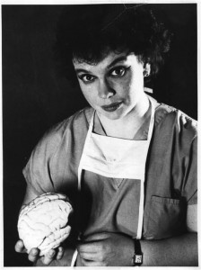 Dr. Goldstein posing with brain model when she was a neurosurgeon