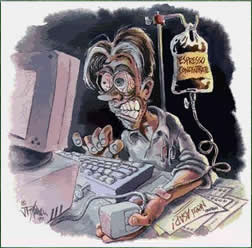 Caffeine addict sitting at computer with IV drip of coffee