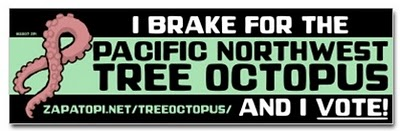 I brake  for the tree octopus bumper sticker