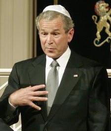 Pres. Bush  wearing a yarmulke