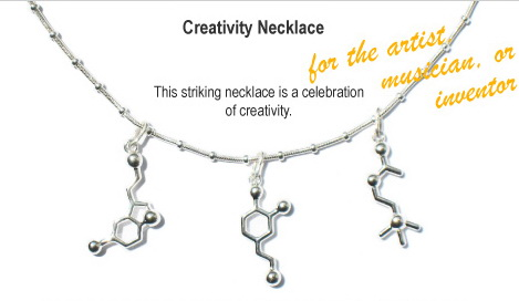 Necklace featuring molecules of neurotransmitters