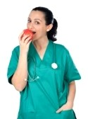 Doctor Woman Eating Red Apple