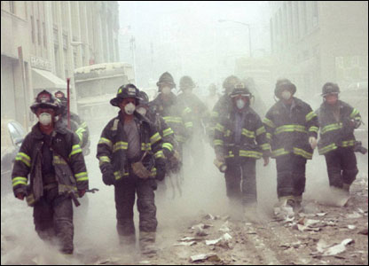 Firefighters responding on 9/11