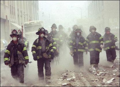 Firefighters responding on 9/11